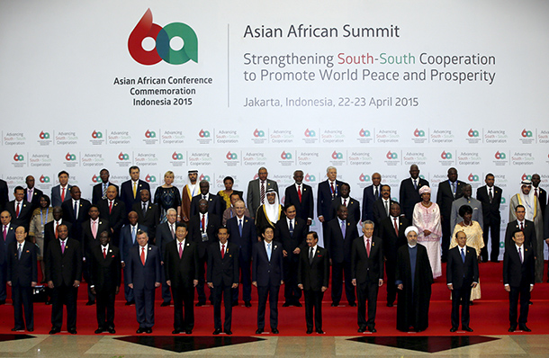 Leaders from Asia and Africa pose for a group photo before the start of the Asian-African Conference in Jakarta on April 22, 2015. (Photo: Reuters)