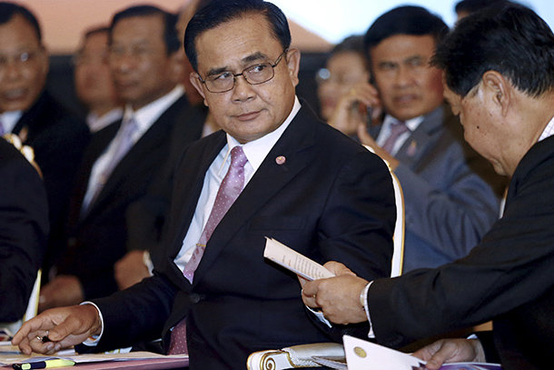 Thailand's Prime Minister Prayuth Chan-ocha prepares to deliver the speech to mark six months since a military-appointed legislature chose him as prime minister, at Government House in Bangkok on April 17, 2015. (Photo: Reuters)