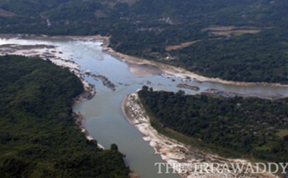 An aerial view of Myitsone, where the Mali Hka and Nmai Hka tributaries join to form the source of the Irrawaddy River (Photo: The Irrawaddy)