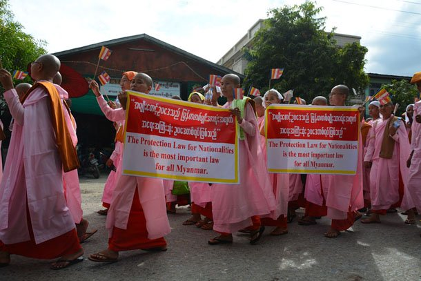 """Buddhist nuns at a rally in Mandalay supporting four """"protection of race and religion"""" bills on Oct. 30, 2014. (Photo: The Irrawaddy)"""