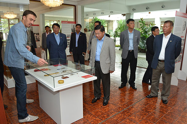 Snr-Gen Min Aung Hlaing, commander in chief of the Burma Armed Forces, at Museum of Yugoslav History on Sunday. (Photo: Supplied)