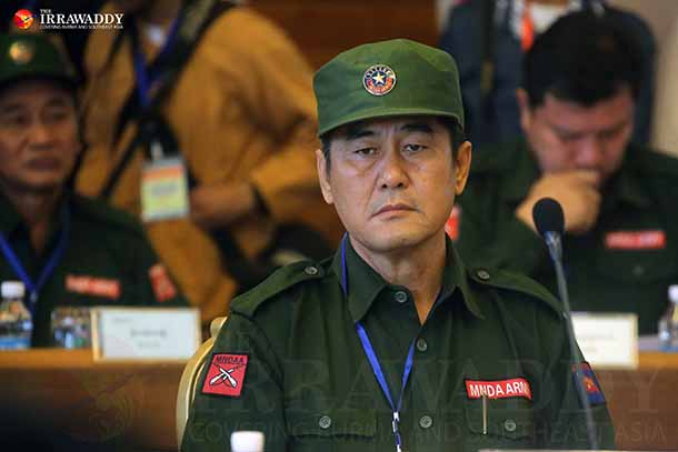 Peng Daxun, the commander in chief of the Myanmar National Democratic Alliance Army, attends a summit of ethnic armed groups in Panghsan, Wa Special Region, on Friday. (Photo: JPaing / The Irrawaddy)