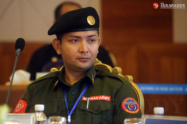 Arakan Army Commander-in-Chief Brig-Gen. Tun Myat Naing attends an ethnic armed groups' conference in Wa region's Panghsan town on Monday. (Photo: JPaing /The Irrawaddy)