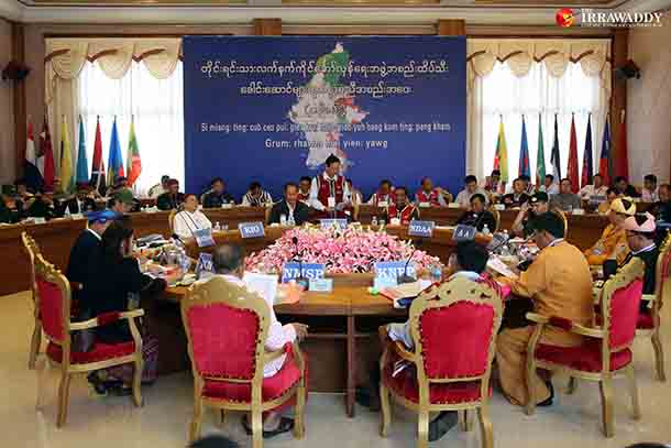 Aung Myint, a United Wa State Army spokesman, delivers opening remarks at an ethnic summit in Panghsang, Wa Special Region, on Friday. (Photo: JPaing / The Irrawaddy)