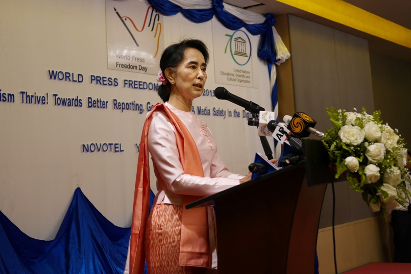 Aung San Suu Kyi addresses attendees of an event marking World Press Freedom Day in Rangoon on May 3, 2015. (Photo: Tin Htet Paing / The Irrawaddy)