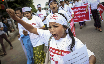 Protesters at Wednesday afternoon's anti-Rohingya rally at the Kyaikkasan Grounds in Rangoon. (Photo: Hein Htet / The Irrawaddy)