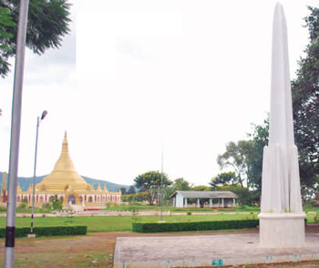 The Maha Rahtarbhithamaggi pagoda now serves as backdrop to the Panglong monument in Shan State. (Photo courtesy of shanland.org)