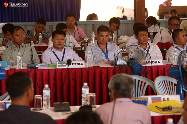 Ta'ang National Liberation Army (TNLA), Myanmar National Democratic Alliance Army (MNDAA) and Arakan Army (AA) delegates at the Law Khee Lar ethnic leadership summit in June 2015. (Photo: Thaw Hein Htet / The Irrawaddy)