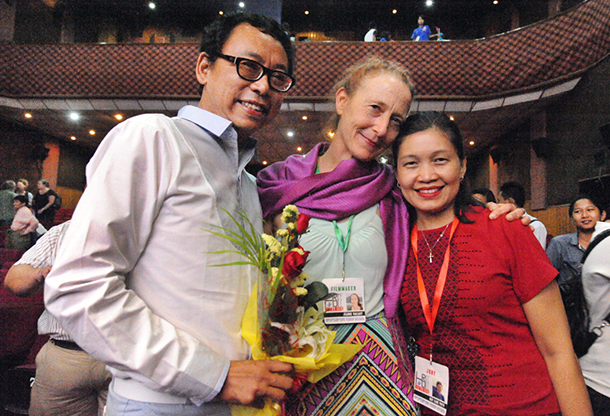 "Aung Myo Min with director Jeanne Marie Hallacy and women's rights activist May Sabe Phyu at the world premiere of ""This Kind of Love"" on June 15, 2015. (Photo: Steve Tickner / The Irrawaddy)"