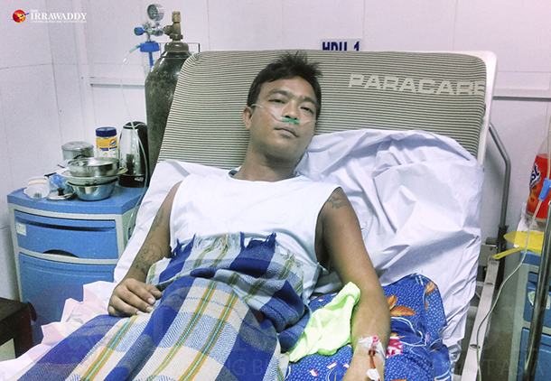 Khin Hlaing recovers in Rangoon General Hospital on June 11, 2015. (Photo: The Irrawaddy)