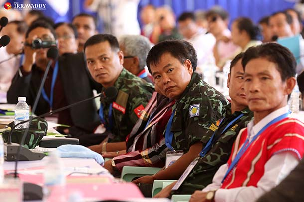 The leaders of ethnic armed groups gathered for a summit on Tuesday in Law Khee Lar, Karen State. (Photo: Hein Htet / The Irrawaddy)