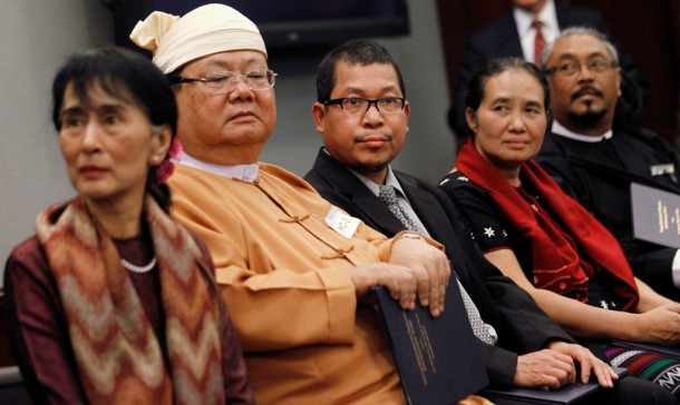 Khun Htun Oo of the Shan Nationalities League for Democracy (SNLD), second left, sits beside Aung San Suu Kyi at the National Endowment for Democracy awards in Washington in 2012. (Photo: Reuters)