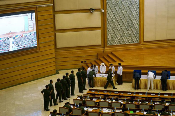 Lawmakers cast ballots on possible amendments to the constitution in Naypyidaw on June 25 (Photo: Reuters)