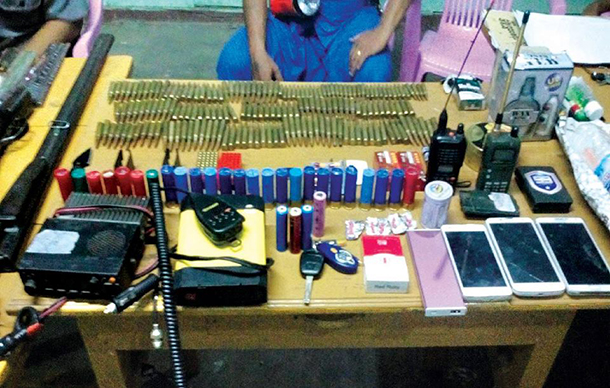 Arms and other items seized from the vehicle with Aung Kyaw Moe at the wheel on June 26. (Photo: Ministry of Information)