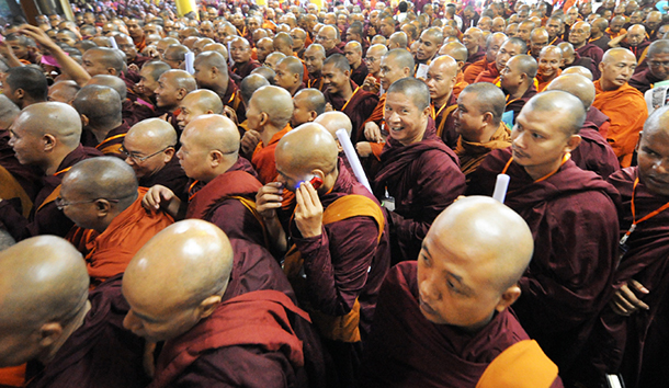 Monks in the audience at the Association for the Protection of Race and Religion's two-year anniversary conference in Insein Township. (Photo: Steve Tickner / The Irrawaddy)
