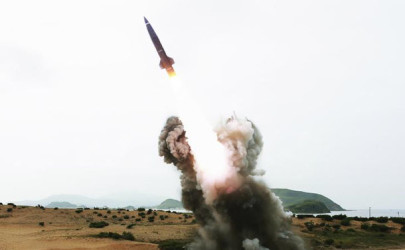 A tactical rocket is launched during a test fire in this undated photo released by North Korea's Korean Central News Agency in Pyongyang August 15, 2014. (Reuters)