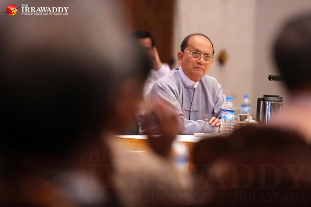 President Thein Sein listens to a representative from one of Burma's political parties at a meeting in Rangoon on May 18, 2015. (Photo: JPaing / The Irrawaddy)