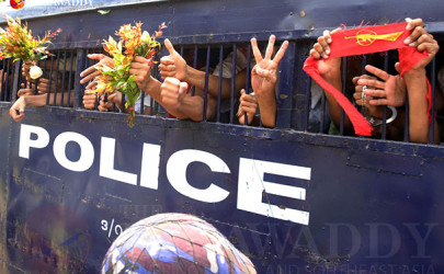 Scores of students are awaiting trial nearly four months after their arrest during a crackdown on student demonstrations, March 25, 2015. (Photo: JPaing / The Irrawaddy)