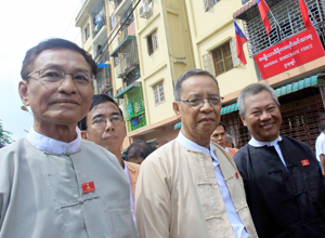 U Khin Maung Swe, left, of the NDF. (Photo: The Irrawaddy)