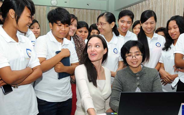 Angelina Jolie meets with young women at the YWCA in downtown Rangoon. (Photo: Steve Tickner / The Irrawaddy)