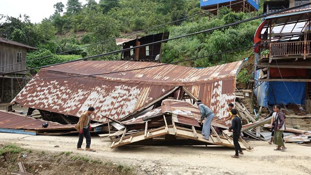 Houses in Hakha were demolished by landslides and floods. (Photo: Bik Lian / Facebook)