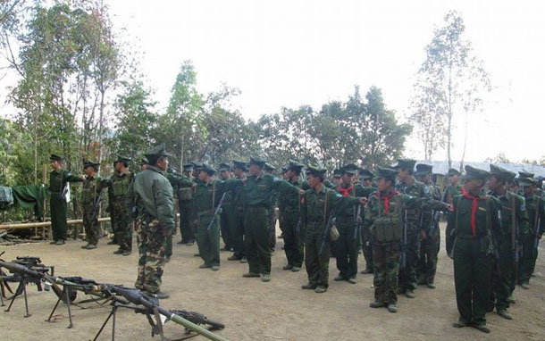 Soldiers from the Ta'ang National Liberation Army (TNLA) are pictured in northern Shan State. (Photo: Facebook / Pslf-Tnla)