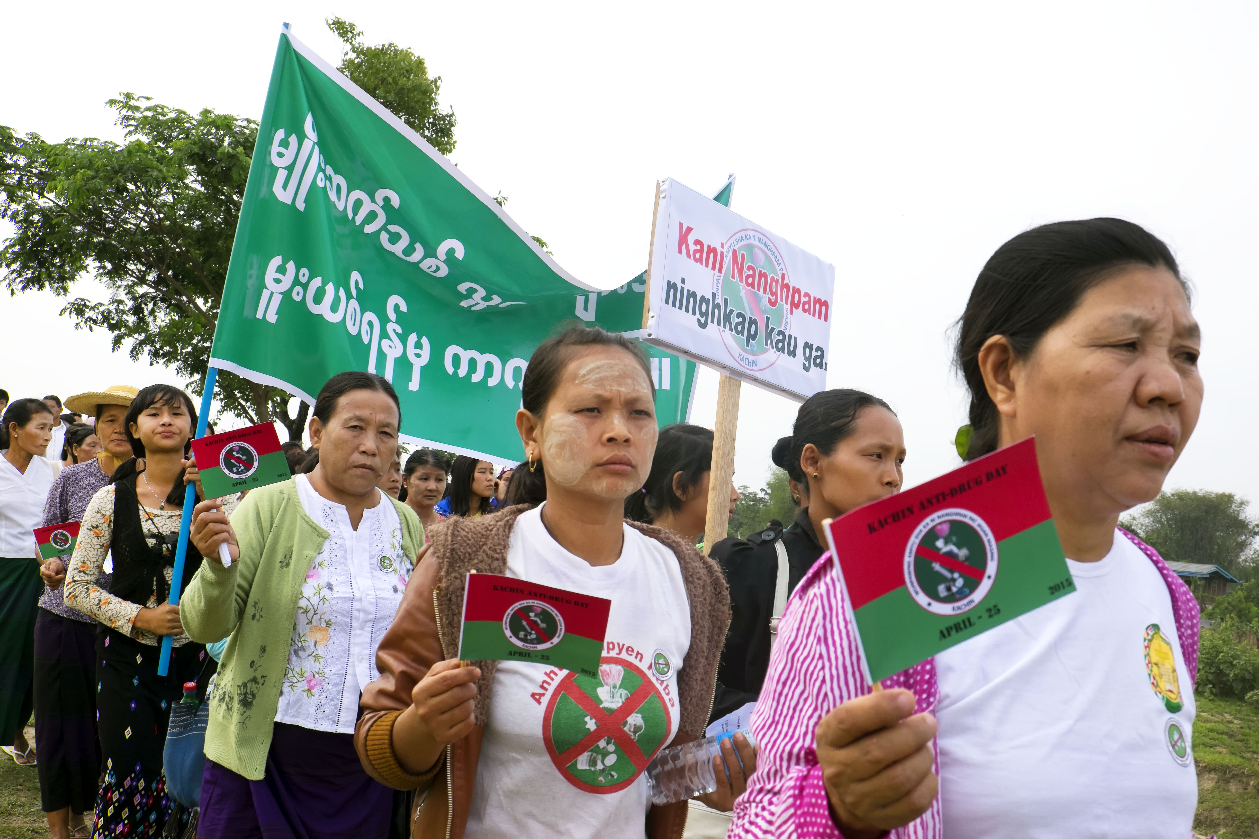 More than a thousand people took part in a recent Anti-Drug Day in Myitkyina organized by a statewide anti-drug coalition. (Photo: Brennan O'Connor / The Irrawaddy)