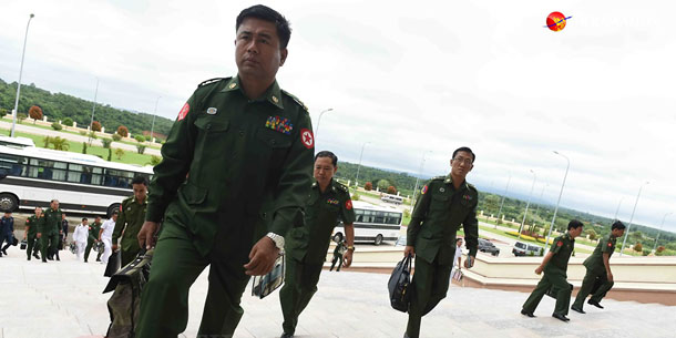 Military lawmakers attend the first day of the final parliamentary session before the November general election, August 18.( JPaing / The Irrawaddy)