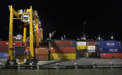 Cargo containers at a port terminal in Rangoon. (Photo: JPaing / The Irrawaddy)
