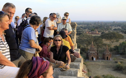 A group of tourists at the summit of a pagoda in Bagan. (Photo: The Irrawaddy)