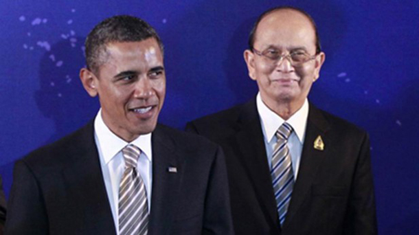 Burma's President Thein Sein, right, is pictured alongside US President Barack Obama as they participate in a group photo at the East Asian Summit in Nusa Dua, Bali, on Nov. 19, 2011. (Photo: Reuters)