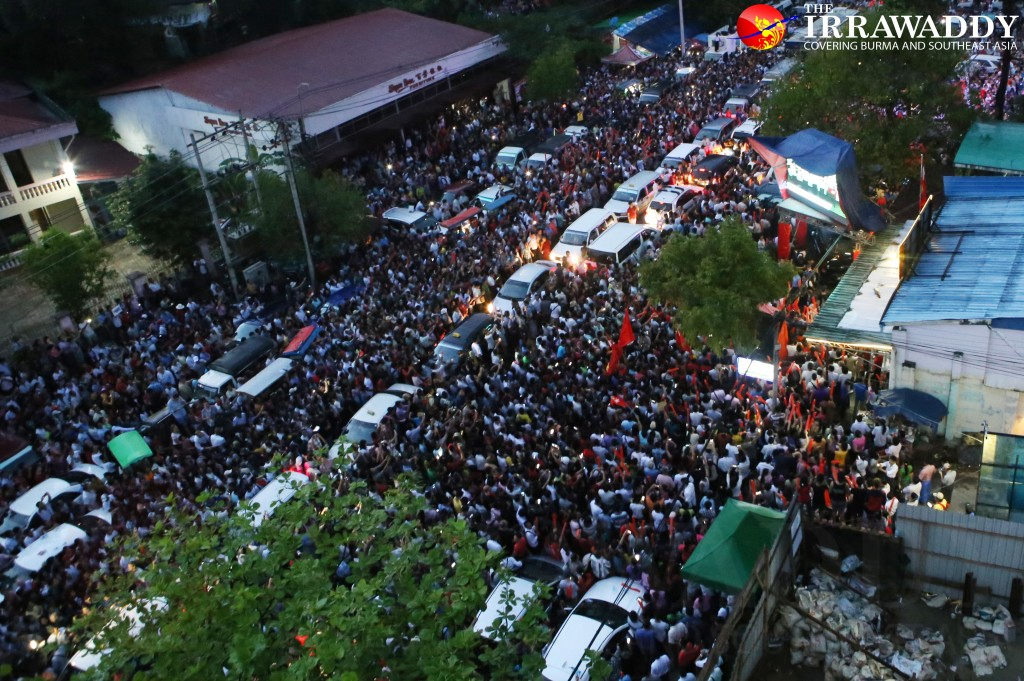 A view from outside the NLD's Rangoon headquarters. (Photo: Nyo Min Soe / The Irrawaddy)