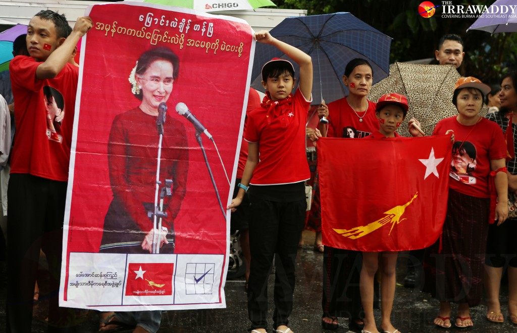 The crowd outside the NLD headquarters in Rangoon on Monday afternoon. (Photo: Myo Min Soe / The Irrawaddy)