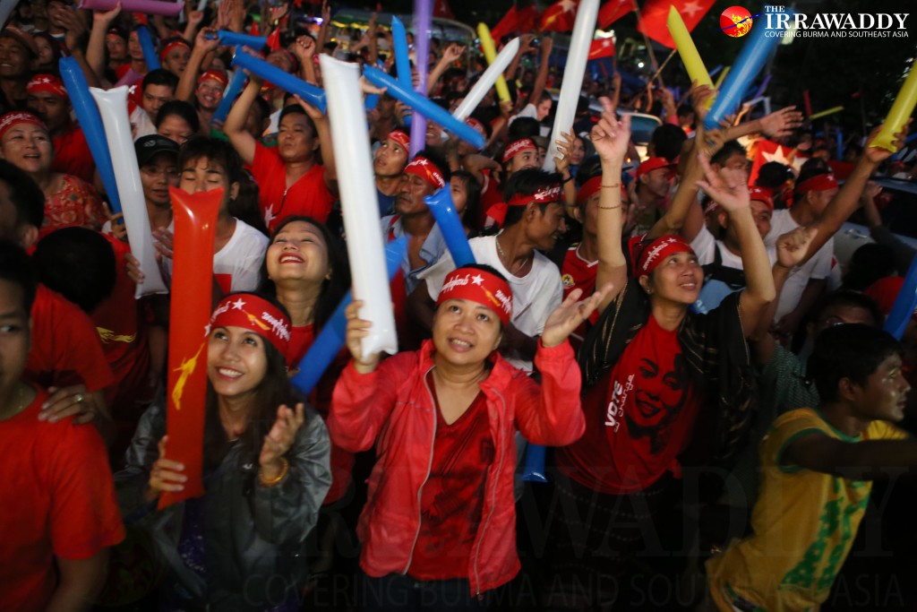 NLD headquarters on Monday night. (Photo: Myo Min Soe / The Irrawaddy)