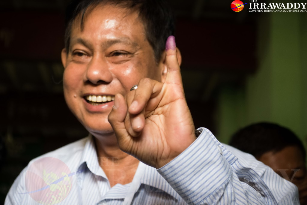 Htay Oo after casting his vote in Irrawaddy's Division's Hinthada on Sunday. (Photo: Tin Htet Paing / The Irrawaddy)