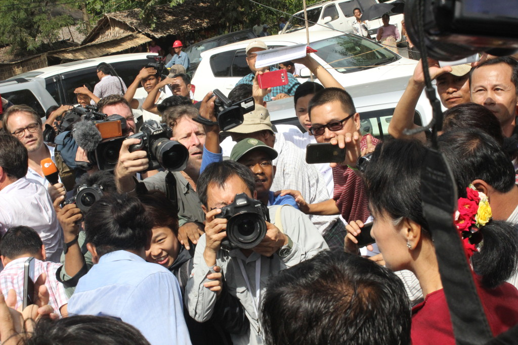 NLD leader Aung San Suu Kyi in Nant Sin Gone village on Sunday morning. (Photo: Saw Yan Naing / The Irrawaddy)