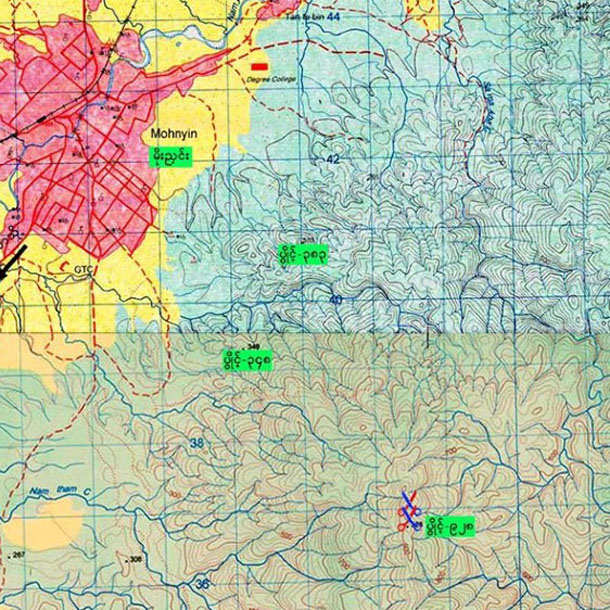 A map with scissors marking clashes in Kachin State's Mohnyin Township between government troops and the Kachin Independence Army in November. (Photo: Myawaddy / Facebook)