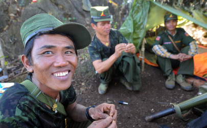 Shan State Army-North soldiers at the hilltop outpost of Loi Sang on Thursday. (Photo: Steve Tickner / The Irrawaddy)