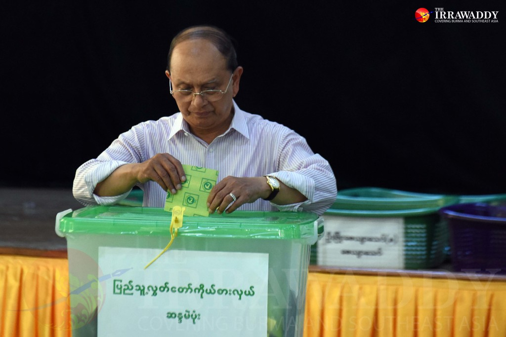 President Thein Sein casts his ballot on Sunday morning. (Photo: JPaing / The Irrawaddy)