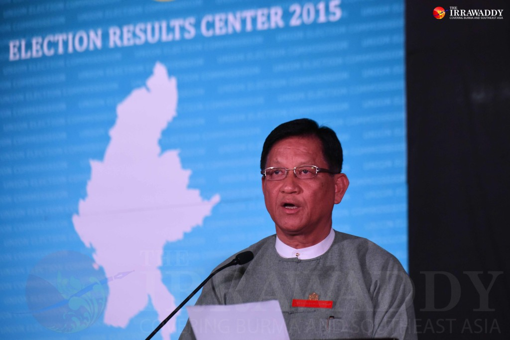 UEC chair Tin Aye at the press conference. (Photo: JPaing / The Irrawaddy)