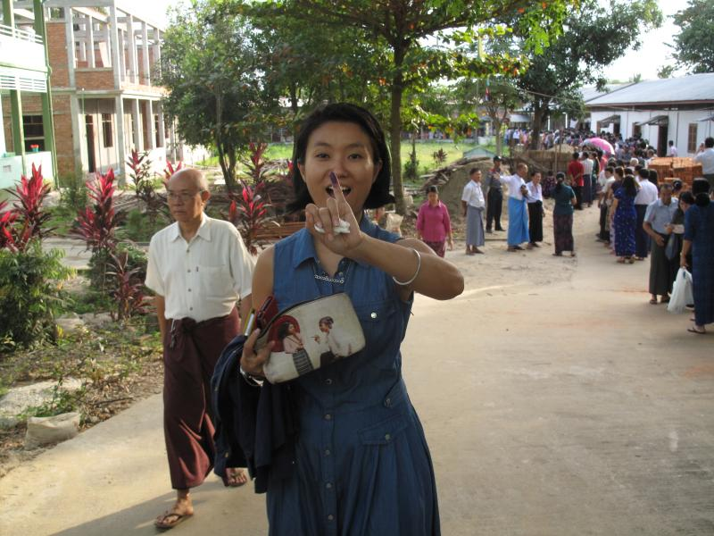Myanmar Now chief correspondent Thin Lei Win after voting. (Photo: Myanmar Now)