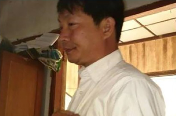 Than Tun, the joint secretary of the Kangyidaunt Township USDP office in Irrawaddy Division, who has been charged for allegedly sharing a digitally altered image of opposition leader Aung San Suu Kyi on Facebook.
