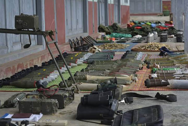 A cache of Burma Army weapons purportedly seized recently by the Shan State Army-North. (Photo: Tai Tan Yang / SSPP/SSA)