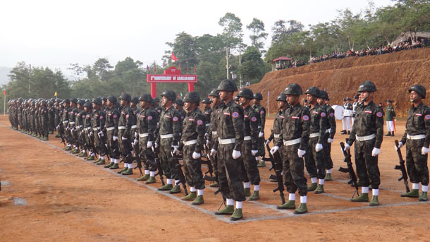 Arakan Army troops on parade in Laiza, Kachin State, in April 2014. (Photo: Moe Myint / The Irrawaddy)