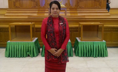 Arakan National Party lawmaker Khin Saw Wai attends the first session of the Lower House of Parliament on Feb. 1, 2016. (Photo: Khin Saw Wai / Facebook)