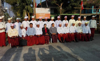 Lawmakers from the Arakan National Party are seen in front of the party's headquarters in Sittwe, Arakan State. (Photo: Arakan National Party)