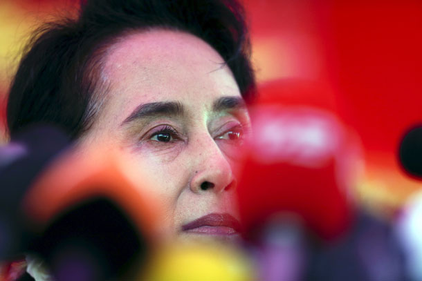 Burma's National League for Democracy (NLD) leader Aung San Suu Kyi looks on during a news conference at her home in Rangoon, November 5, 2015.  (Photo: Jorge Silva / Reuters)