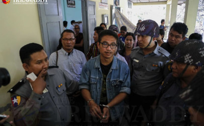 Detained former monk Gambira at Mandalay's Maha Aung Myay Township Court on Wednesday. (Photo: Zaw Zaw / The Irrawaddy)