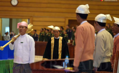 Win Myint, Lower House speaker of Parliament, at a parliamentary session on February 4, 2016. (Photo: JPaing / The Irrawaddy)
