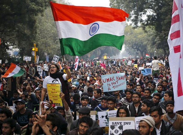 A demonstrator shouts slogans and waves the Indian national flag as she takes part in a protest demanding the release of Kanhaiya Kumar, a Jawaharlal Nehru University (JNU) student union leader accused of sedition, in New Delhi, India, February 18, 2016. (Photo: Anindito Mukherjee / Reuters)